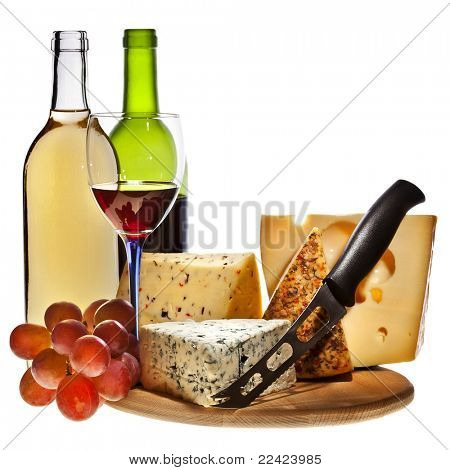Grape wine with cheese isolation