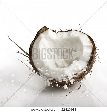 cracked coconut with milk splash