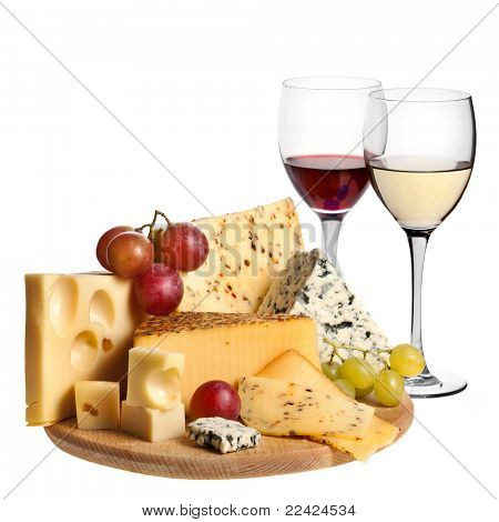 Grape wine with cheese isolation  on white background