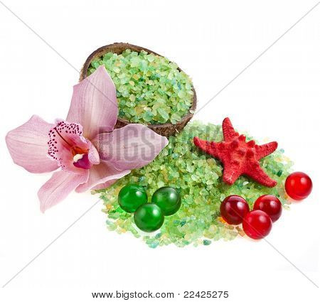sea salt with orchid isolated on white background