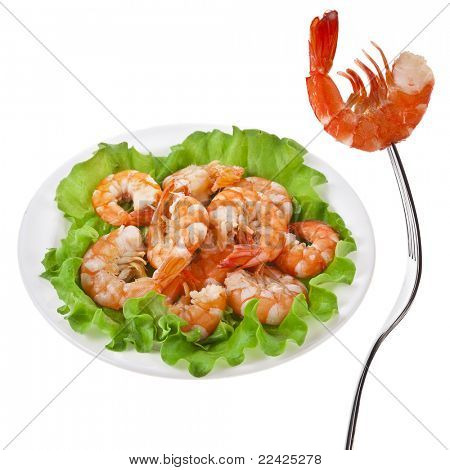 shrimp on fork isolated on white  isolated on white
