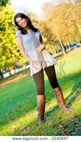 Autumn Girl Portrait Outdoors