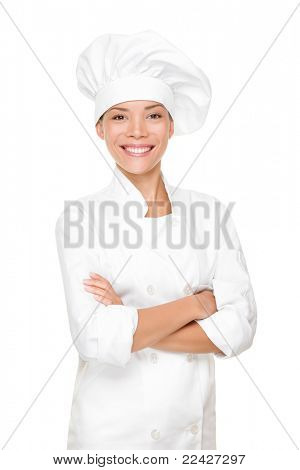 Chef, cook or baker woman. Happy proud portrait of female in chef uniform and chef hat isolated on white background. Asian Caucasian woman model.