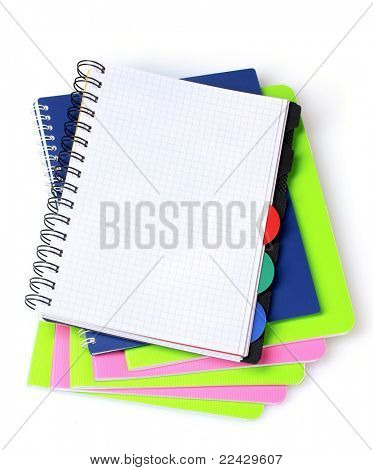 few notebooks isolated on white