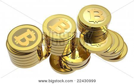 Stack of bitcoins isolated on white. Computer generated 3D photo rendering