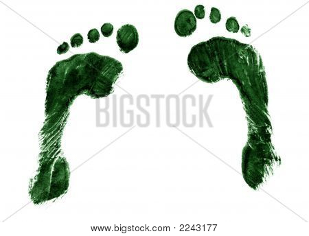 Pair Of Green Footprints