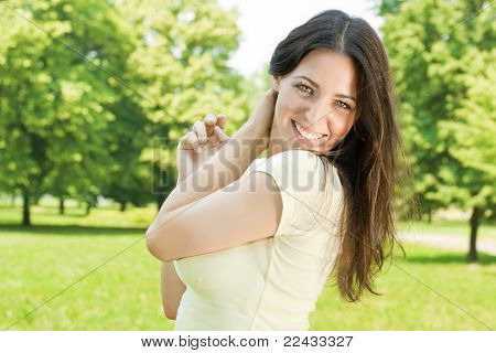 Happiness Young Woman In Park