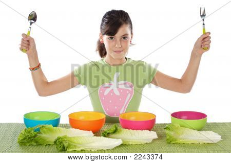 Girl With Colourful Bowls