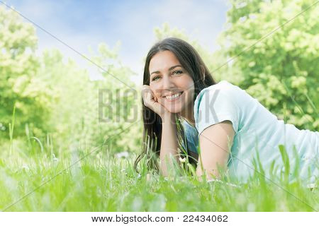 Happy young women relaxing in nature.