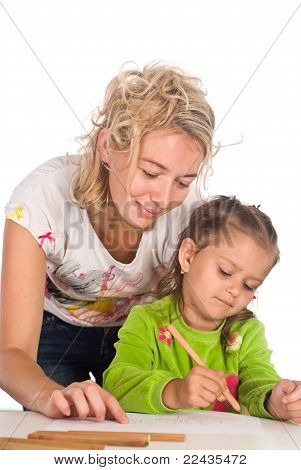 Mom And Daughter Draw