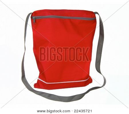 Small Red Sport Bag Isolated On White