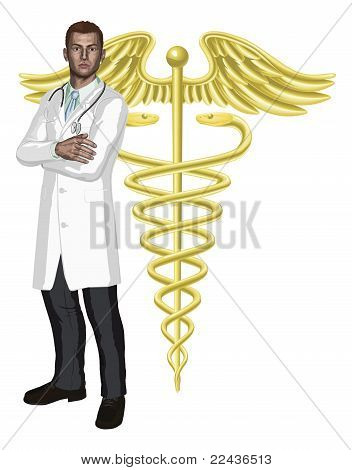 Doctor And Caduceus Symbol Illustration
