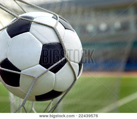Football in the goal net