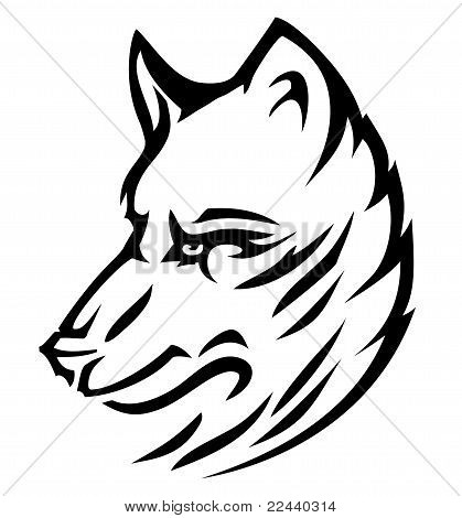 Wolf dog cute (vector)