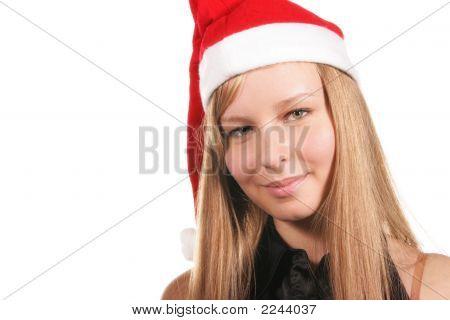 Santa Girl Looking At Camera