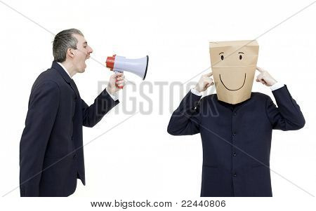 furious boss with megaphone isolated on white