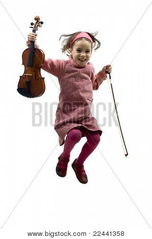 little girl with violin jumping isolated on white