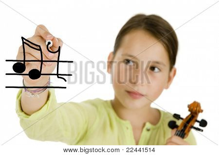 young girl writing with a pen and holding a violin isolated on white background