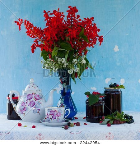 Still Life With Flowers And Berry Jam
