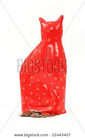 rote Katze Keramik Sparkasse Rückansicht