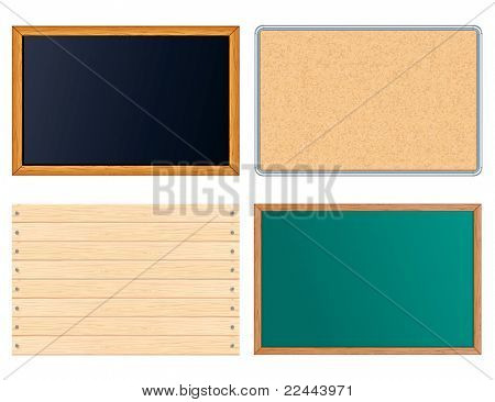 Blank Message Boards. Include Chalkboard, Corkboard, Blackboard, Wooden Sign. Vector illustrations set