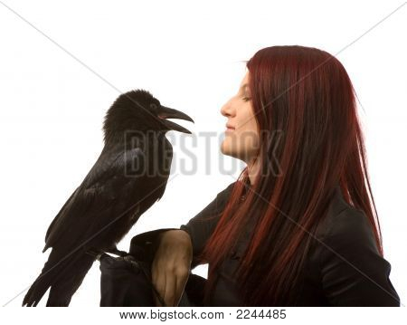 Woman With Black Raven