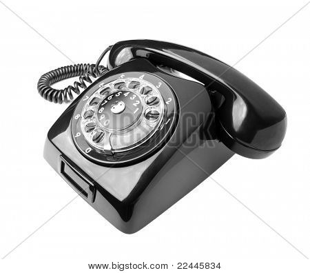 Black old phone isolated on white background