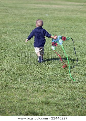 Little boy playing with a kite at the park