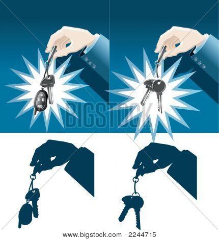 Chaves do carro de exploração mão do empresário