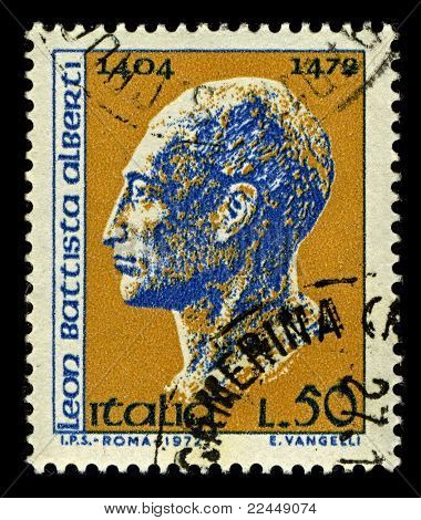 ITALY-CIRCA 1972:A stamp printed in ITALY shows image of Leon Battista Alberti was an Italian author, artist, architect, poet, priest, linguist, philosopher, cryptographer, and  humanist, circa 1972.