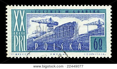 POLAND-CIRCA 1964:A stamp printed in POLAND shows image of Gdansk Shipyard (Stocznia Gdansk) is a large Polish shipyard, located in the city of Gdansk, circa 1964.