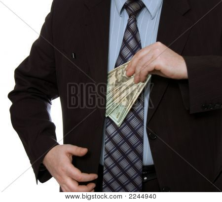 Businessman Put Money Into Pocket2