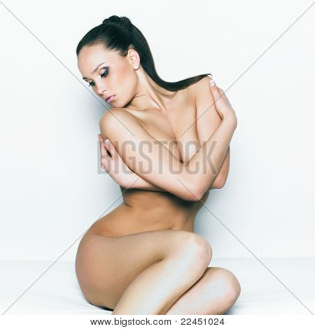 Fashion photo of beautiful nude woman with sexy body
