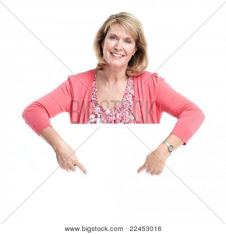 Senior smiling woman with placard. Over white background.