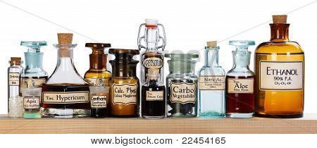 Various Pharmacy Bottles Of Homeopathic Medicine