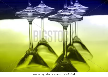 Upside-down Martini Glasses And Reflections