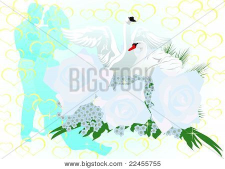 Wedding flowers and swans