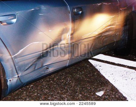 Car Crash At Night -  Damaged Doors