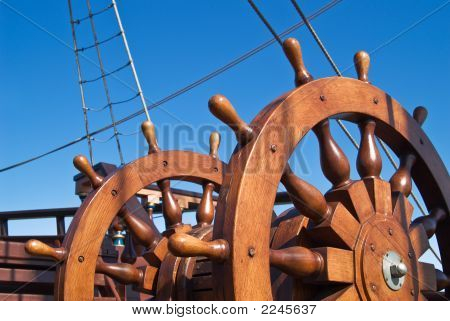 Double Steering Wheel Of Big Sailing Boat