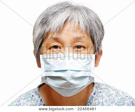 senior woman with protective facemask