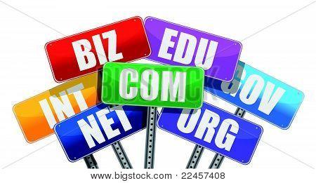 Domain names signs internet concept