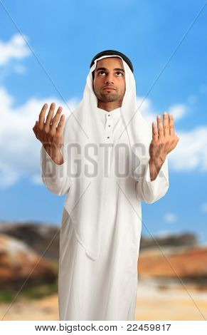 Middle Eastern Arab Man With Arms Outstretched