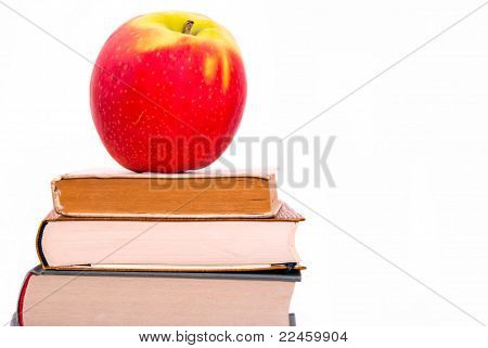 An Apple On A Book Pile