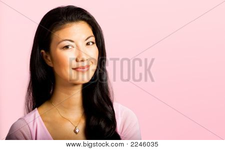 Asian Woman Supporting Cancer Awareness