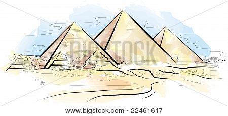 Drawing Color Piramids And Desert In Giza, Egypt