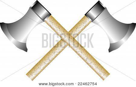 Two axes on white