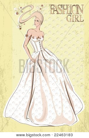 Vector elegant bride, hairdress and dress decorated with flowers