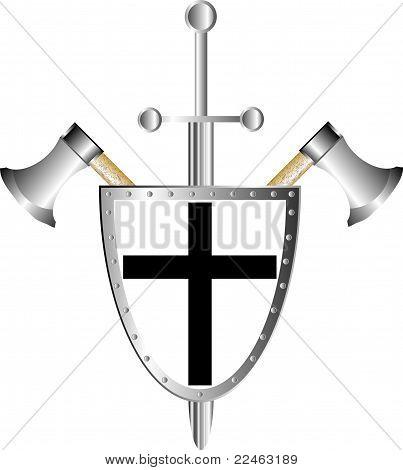 Escudo de batalla con hachas y espada