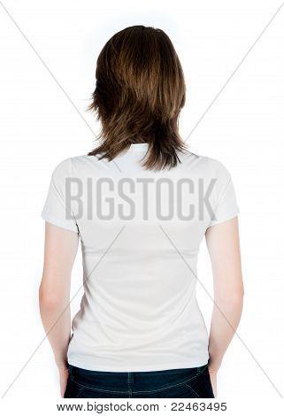 White caucasian Teen wearing a clean T-Shirt