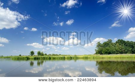 Reflection Of Sky In Lake.